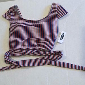 OLD NAVY swim top red white and blue stripes
